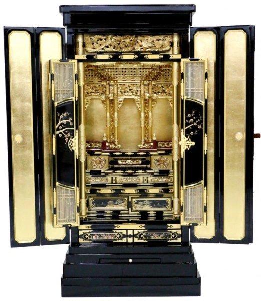 画像1: 金仏壇【満月 -まんげつ-】18×43号+仏具セット付 ✿オリジナル (1)