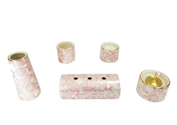 画像1: 仏具5点セット【ゆい花 -桜-】3.0寸 ✿美濃焼 (1)